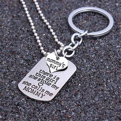 2PCs Set Keyring Keychain Pendant Necklace Mommy's Girl Mother Daughter Gifts