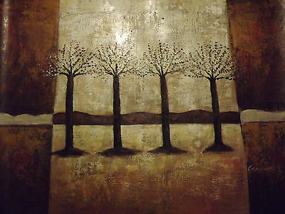 abstract minimal brown trees forest large oil painting canvas modern landscape