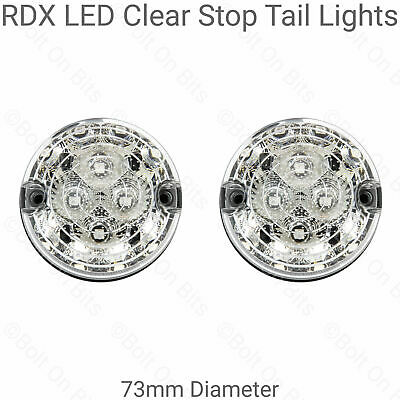2 RDX LED 73mm Clear Stop Tail Lights For Land Rover Defender 90 110 Kit Cars