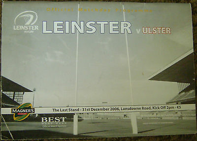 LEINSTER v ULSTER RUGBY PROGRAMME, 2006, LAST EVER GAME AT LANSDOWNE ROAD.