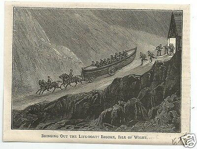 COM Small Early Print, Brooke Lifeboat Hauled to Launch  - Circa  1875