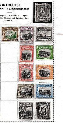 MOZAMBIQUE,, ELEVEN older m/mint stamps,, very fresh looking, not my area