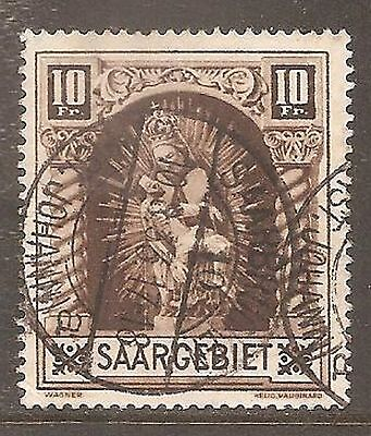 1925 Saar 10f. Madonna SG 103 Used (Cat £38)