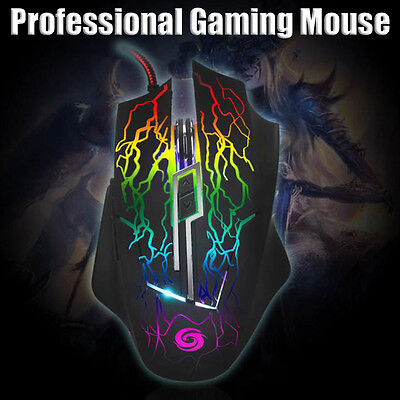 Professional Computer Gaming Mouse 2400 DPI 6D Optical USB Wired LED Mouse Mice