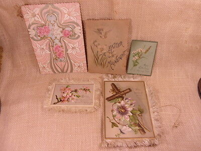 Lot Of Victorian & Early Easter Greeting Cards - Silk Fringe