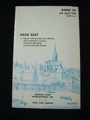 ROBSON LOWE AUCTION CATALOGUE 1978 NEAR EAST - EGYPT WITH FPOs HOLY LAND SAUDI