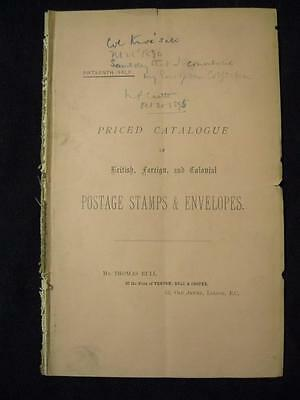 VENTOM BULL & COOPER AUCTION CATALOGUE JAN 1890 with 'ENTIRE ENVELOPES'