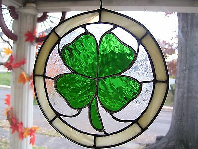 Lucky Shamrock Stained Glass Sun-catcher ( Real Glass)