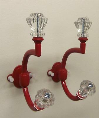 LOT of 2 Hooks Glass Knob on Red Hooks FREE SHIPPING