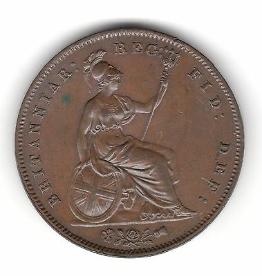 UK Queen Victoria, Copper Penny, 1858, Extremely Fine (50)