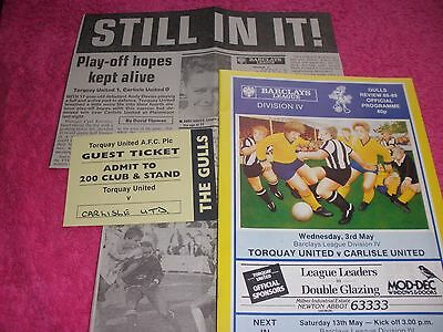 Torquay United v Carlisle United  3/5/89.  With Ticket + Newspaper Match Report.