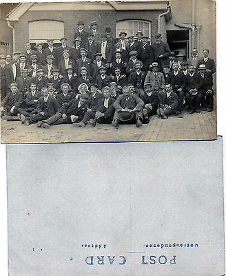 PHOTOGRAPH postcard: group of men (works outing)?: 1920's? Suffolk ? Essex?