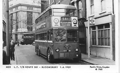 Pamlin repro photo postcard M23 London Transport Trolleybus 1151 Bloomsbury 1959