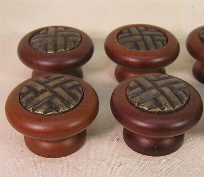 10 Vintage Style Walnut Wood Handle Knob w/ Insert Cabinet Furniture Hardware