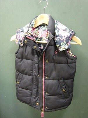 Age 8 Joules gilet body warmer dark blue floral with hood floral lining
