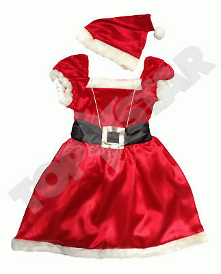 Girls Christmas Santa Dress Kids Festive Fancy Dress Up Ages 3 4 5 6 7 Years NEW