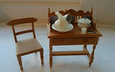 Dolls House Miniatures 12Th Victorian / Edwardian Washstand Chair + Accessories