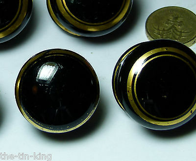 Lot 7X Antique Screw On Ceramic Chest/drawer/door Handle Knobs Black Gold Lines