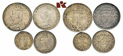 STRAORDINARY AUCTION START 1 $ QUEEN VICTORIA MAUNDY SET 1899 aUNCIRCULATED
