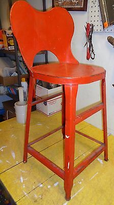 Vintage-Antique Welded Metal stool / tall chair with original red paint