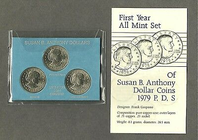 1979 Susan B Anthony Dollar Coin Set Uncirculated All 3 Mints with Info
