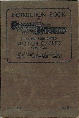 1936 - 40 Royal Enfield Dry Sump Lubricated INTSTRUCTION BOOK 50 Pages Used