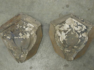 """Old Antique ( Metal ) tin ceiling tiles (2)  corners 9"""" with wood"""