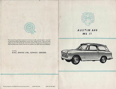 AUSTIN A40 Mk2 LIST OF APPROVED ACCESSORIES..