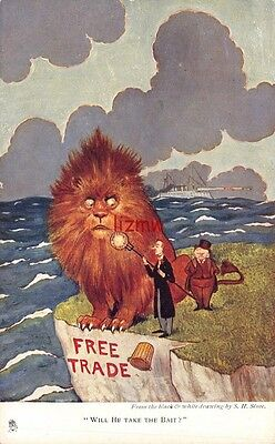 Political Free Trade 'will He Take The Bait?' Lion On Cliff Edge Tuck Art Card