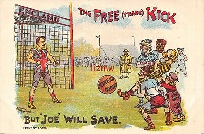 Political 'the Free Trade Kick' Chamberlain In Goal Football Match Comic  Card