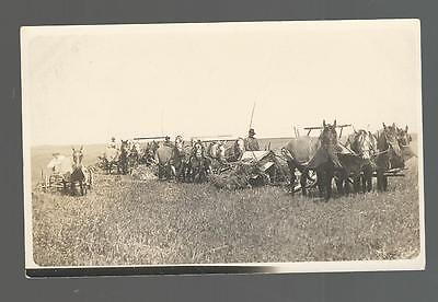 Real Photo Post Card (Rppc) Vintage Farm Equipment And Workers