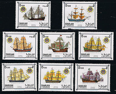 Sharjah Mint Stamps - 1969 - Post Day Famous Ships - Postage 5d x 8 Set