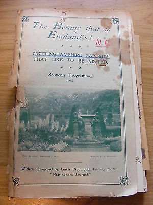 1931 The Beauty that England is, Souvenir Programme of Notts Gardens Cover tatty