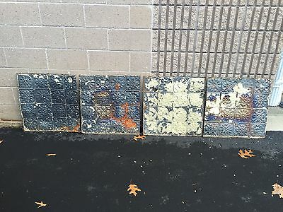 "GORGEOUS antique VICTORIAN tin ceiling pressed SQUARE pattern 4 - 24"" sq AS IS"