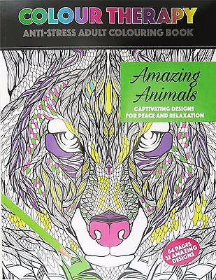 Colour Therapy Adults A4 Amazing Animals Anti-Stress Colouring Book 64 pages