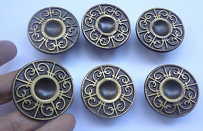 Lot 6 Vintage Solid Brass Round Pull handles 1.8'' for Cabinet Drawer Closet