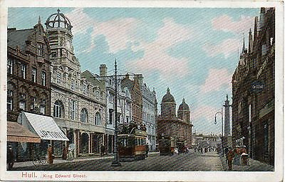 Old Postcard Hull King Edward Street With Trams Posted 1905