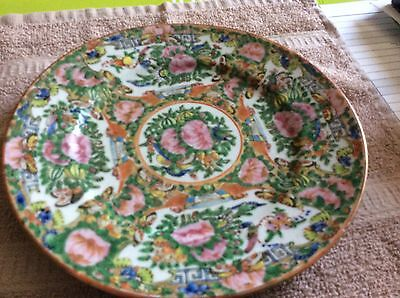 Vintage Pretty  Flowers Butterfly Design Chinese Hand Painted Decorative Plate