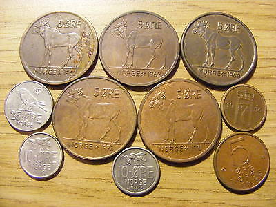 A Collection of 10 Norway Coins - Dates 1956 - 1975