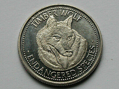 World Endangered Species Medallion Token Collector Coin with Timber Wolf Animal