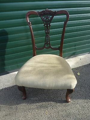 Antique Edwardian Mahogany Nursing Chair - Carved With Green Velvet Upholstery