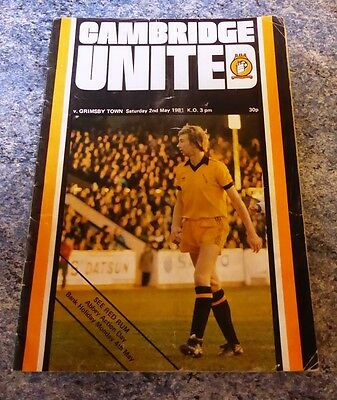 Cambridge United football programme 2nd May 1981 Grimsby Town