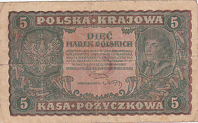 5 Marek  Banknote From Poland 1919!!vg!pick-24!