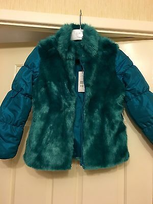 Girls Faux Fur Coat BNWT Age 7-8 Teal Padded Next Post £32 Xmas Gift