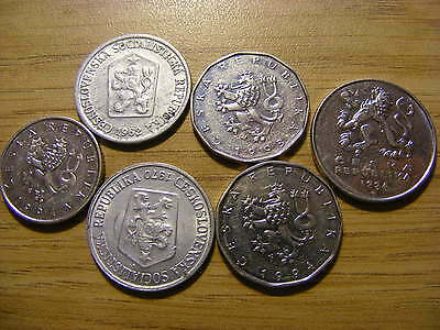 A Collection of 6 Czechoslovakia Coins - Dates  1962 - 1994