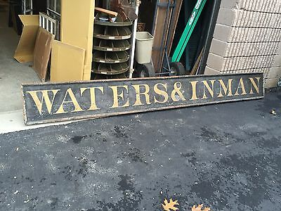 """c1880-90 WATERS & INMAN store sign black sand GOLD lettering BOSTON MA 11' X 16"""""""