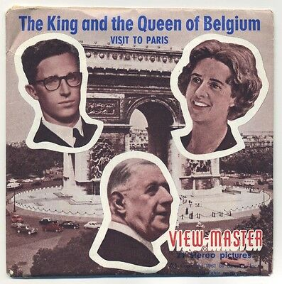 King and Queen of Belgium visit Paris France 1961 RARE ViewMaster Packet C-176