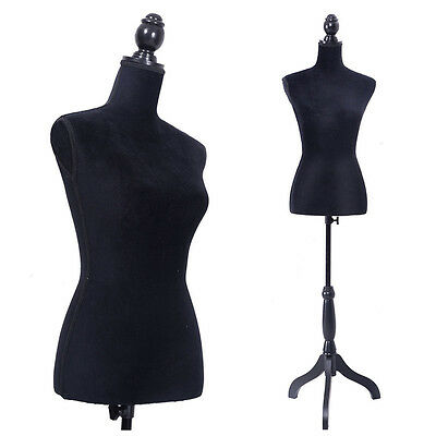 New Female Mannequin Torso Dress Form Display W/ Black Tripod Stand Black