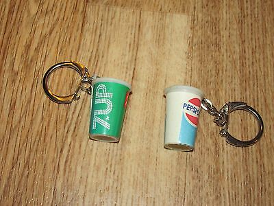 Vintage 7-Up And Pepsi Cups Key Chains, Good Condition, Neat!