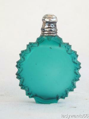 Antique French Miniature Green  Perfume Scent Bottle Silver Lid A/f Circa 1860